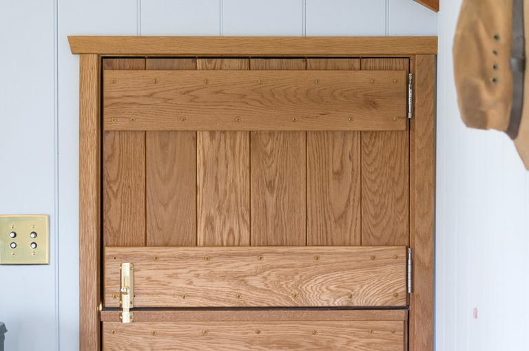 the top half of a handcrafted solid cedar dutch door