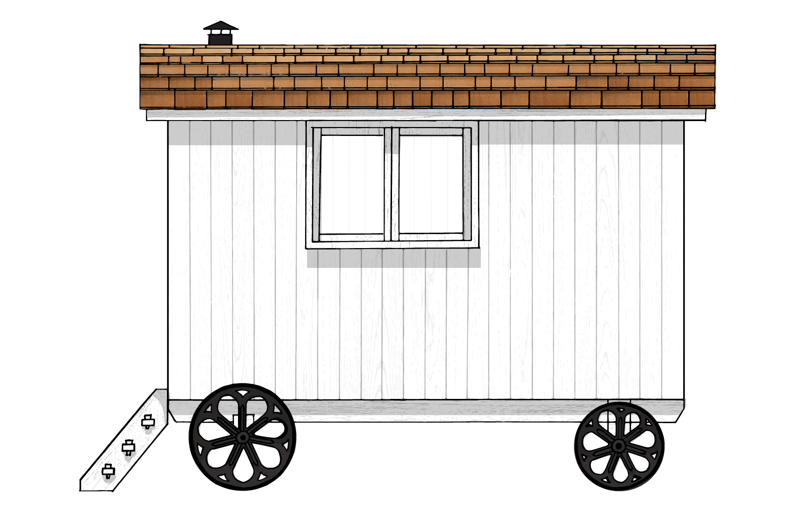 the exterior front elevation of a gute shepherd hut