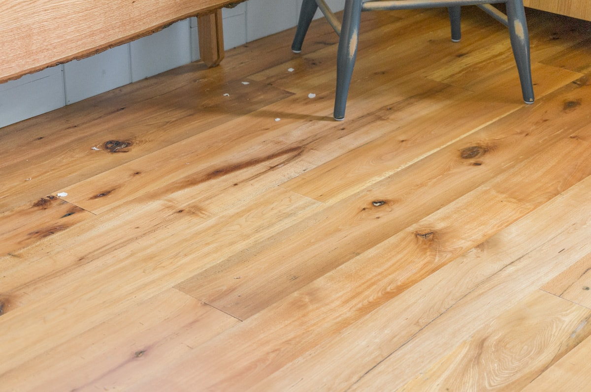a reclaimed resawn beechwood engineered hardwood floor