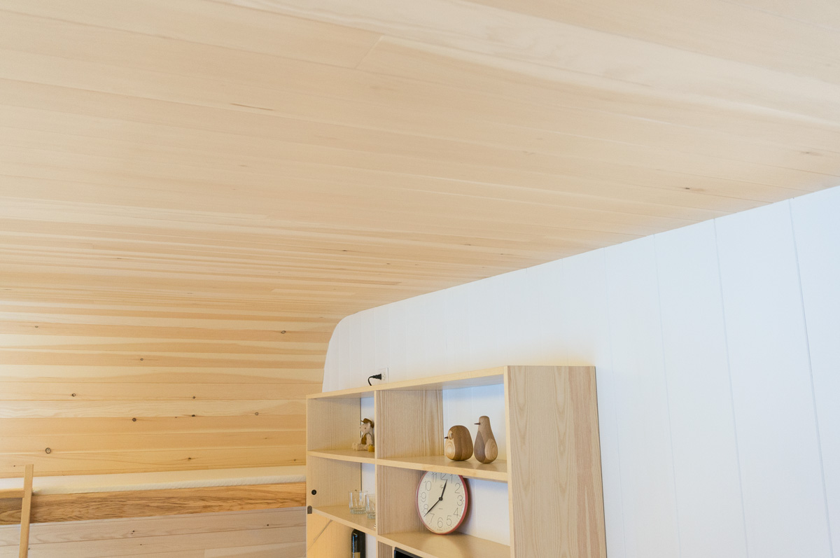 solid pine v-match interior panelling finshed with a 3 coat polyeurathane finish on the interior ceiling and side walls