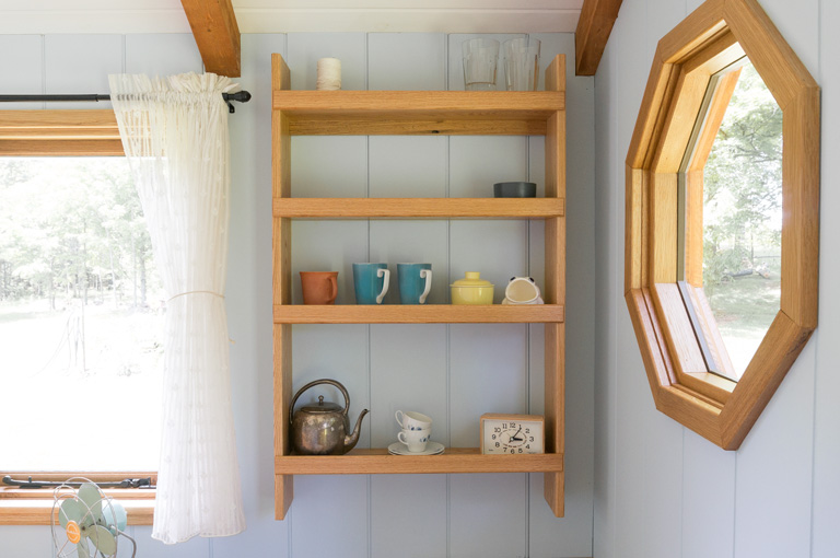 a handcrafted solid oak shelving unit