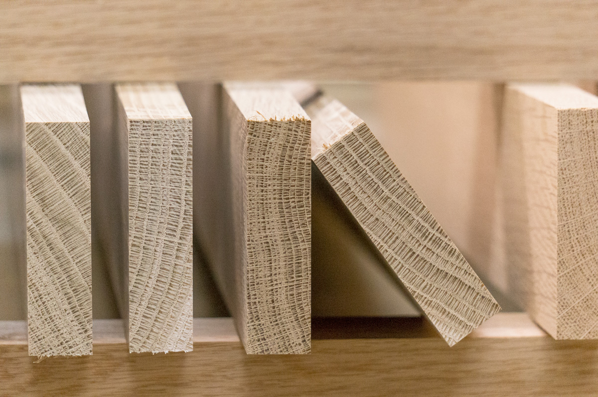 a stack of milled white oak for modular furniture designs