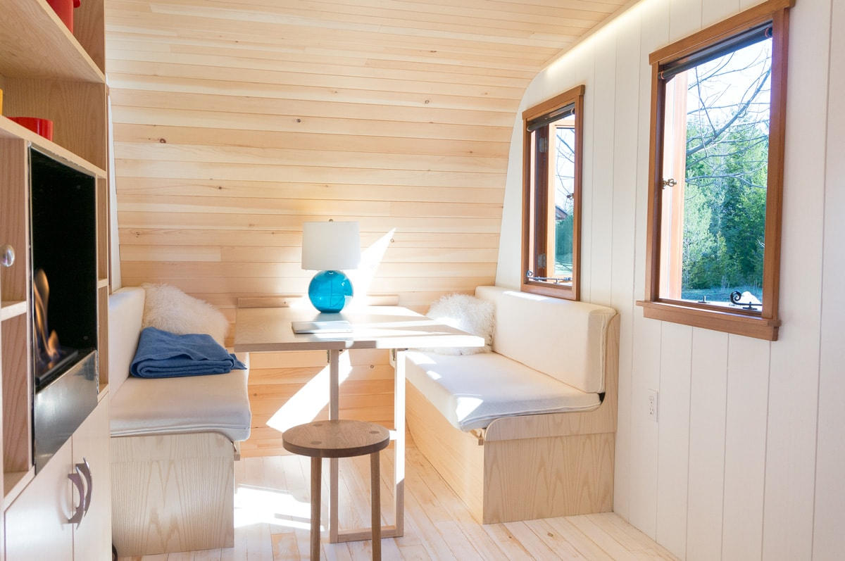 a gute shepherd hut interior furnished with modular furniture
