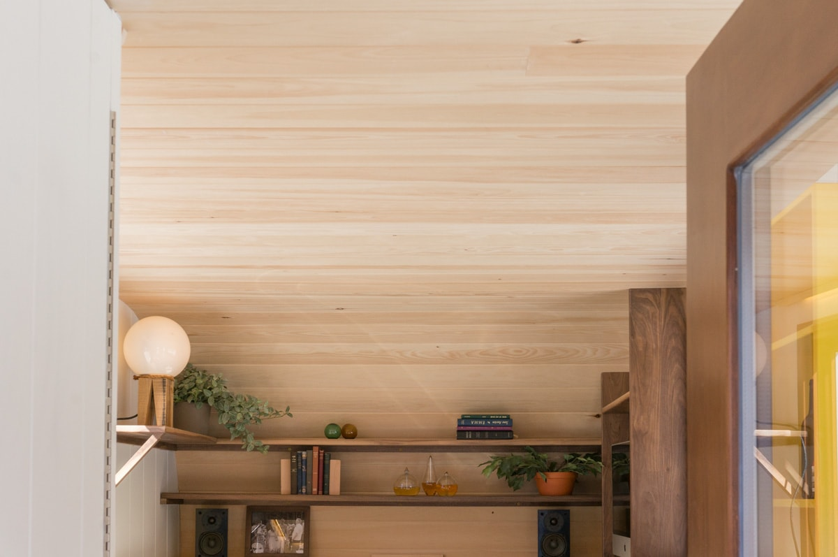 natural solid pine v-match ceiling panelling on a Tobermory shepherd hut's interior