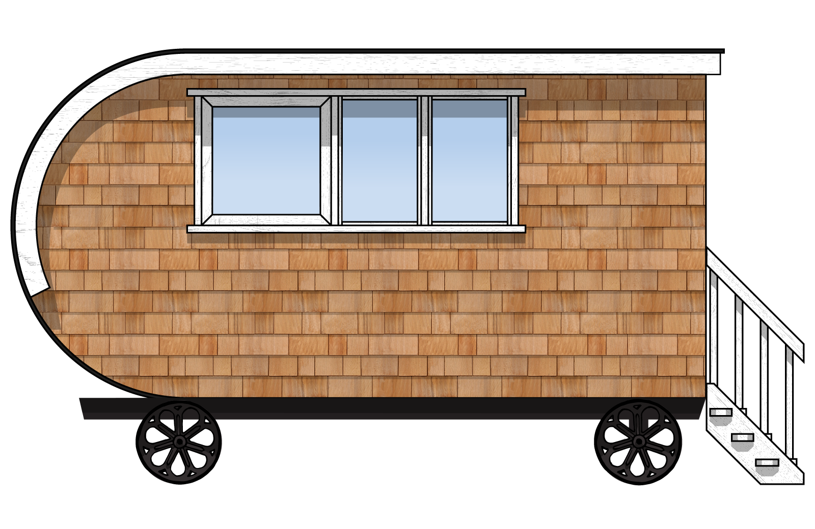 the interior side elevation of a fully furnished gute collingwood shepherd hut
